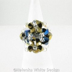 Swarovski crystal ring in metallic blue 2