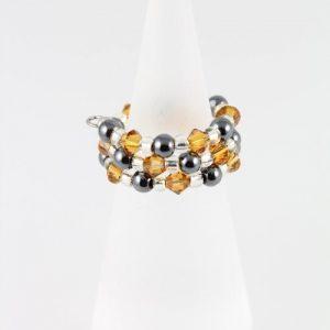 Hemalyke ring with Topaz Sawrovski crystals
