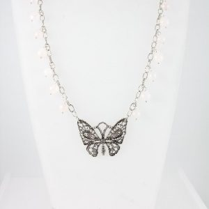 Butterfly necklace with Rose Quartz beads