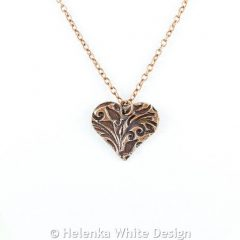 Floral heart copper pendant