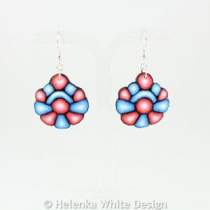Blue and red earrings