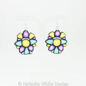 Yellow, purple and turquoise earrings