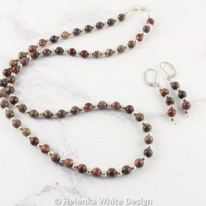 Leopardskin Jasper necklace with matching earrings.