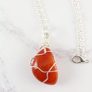 Carnelian pendant - wire wrapped