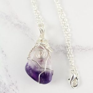 Amethyst pendant- wire wrapped.