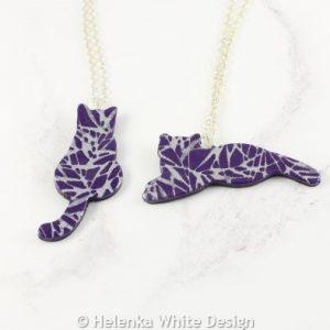 Purple silkscreen cat pendants
