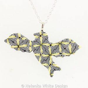 Yellow and black bird pendant