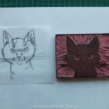 Cat face block and transfer paper.