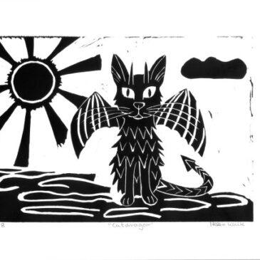 Catdragon lino print